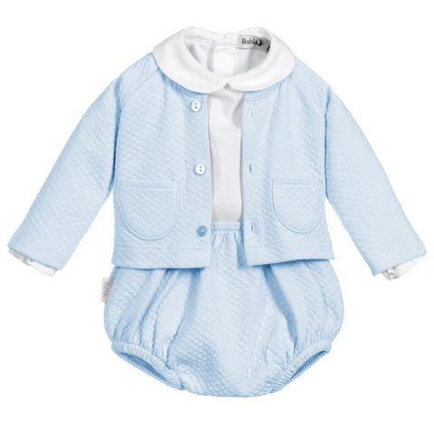 Babidu - Baby Blue Cotton Knit Three Piece Shorts Set