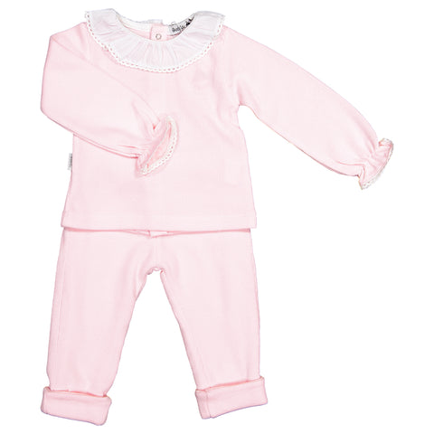 Babidu - Baby Pink Cotton Knit 2 Piece Set-Outfit Set-Sweet Peas Kidswear