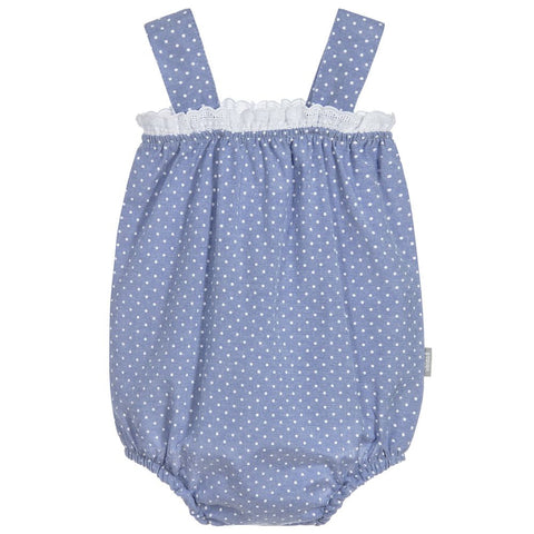 Babidu - Baby Girls Blue Polka Dot Shortie-Outfit Set-Sweet Peas Kidswear