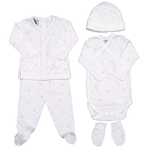 Babidu - Baby Girls Pink 'Little Treasure' 5 Piece Babygrow Gift Set