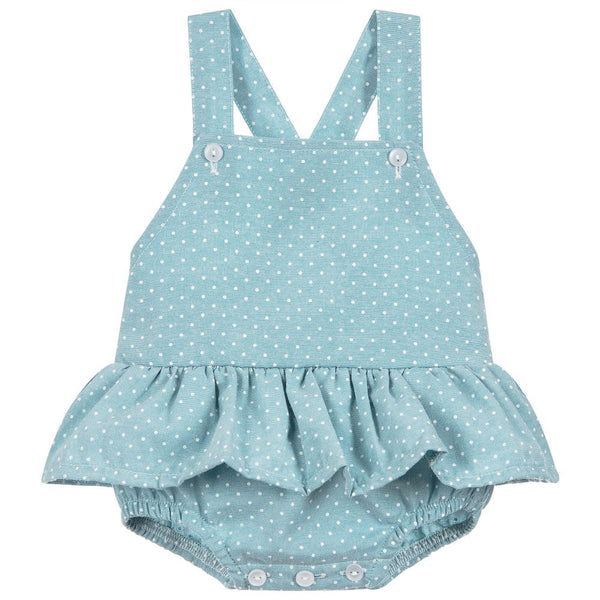 Babidu - Baby Girls Green Polka Dot Shortie-Outfit Set-Sweet Peas Kidswear