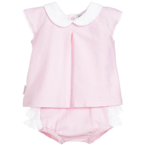 Babidu - Baby Girls Pink Cotten 2 Piece Shorts Outfit