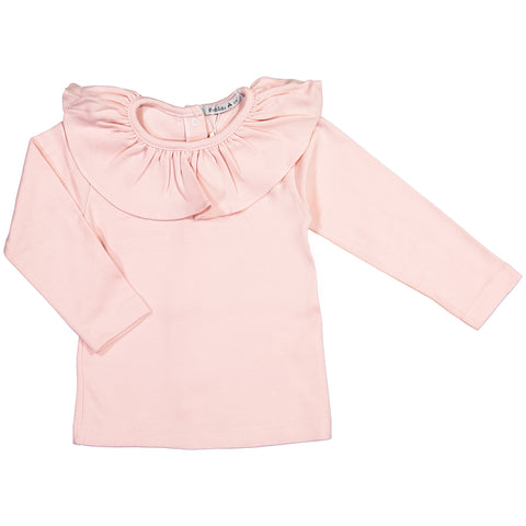 Babidu - Long Sleeved Ruffle Collar T-Shirt-T-Shirt-Sweet Peas Kidswear