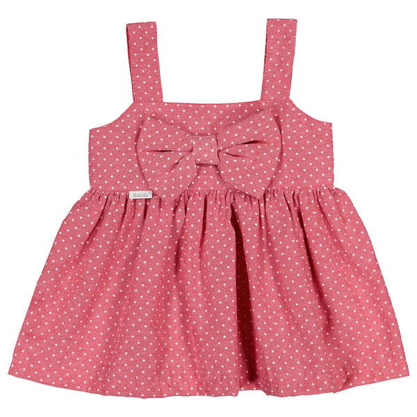 Babidu - Girls Red Polka Dot Bow Dress-Dress-Sweet Peas Kidswear
