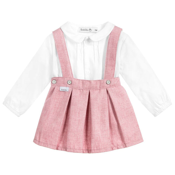 Babidu - Pink Cotton Skirt & Top Set