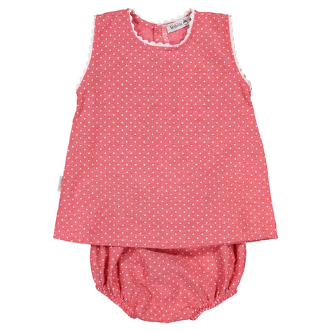 Babidu - Baby Girls Red Polk Dot 2 Piece Shorts Outfit-Outfit Set-Sweet Peas Kidswear