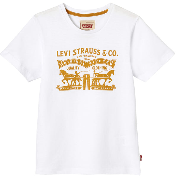 Levi's - Boys White and Gold Levi Strauss & Co Logo T-Shirt-T-Shirt-Sweet Peas Kidswear