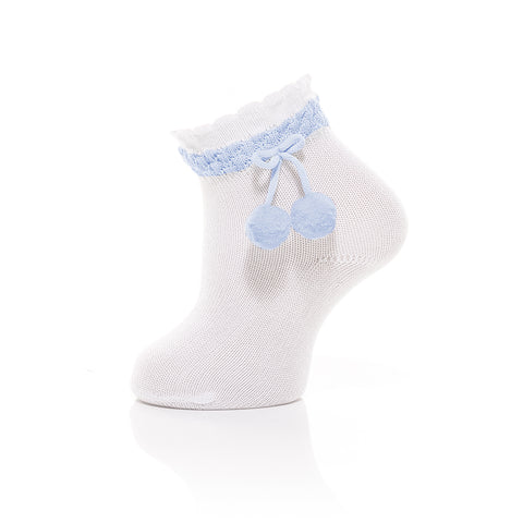 Carlomagno - White Baby Ankle Socks with Baby Blue Pom-pom
