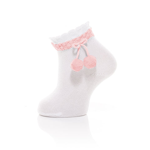 Carlomagno - White Baby Ankle Socks with Baby Pink Pom-pom 1