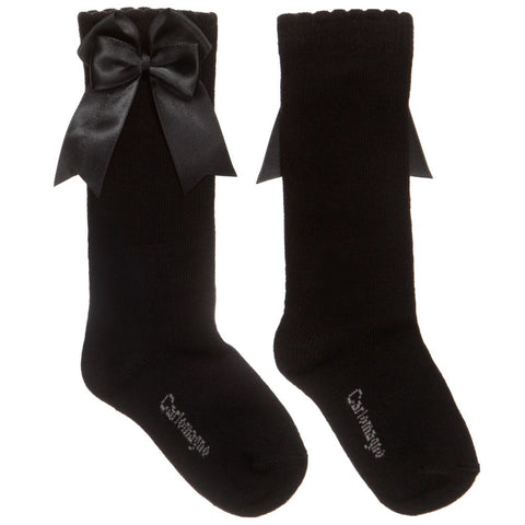 Carlomagno - Girls Black Bow Socks-Socks-Sweet Peas Kidswear
