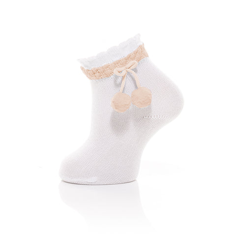 Carlomagno - White Baby Ankle Socks with cream Pom-pom