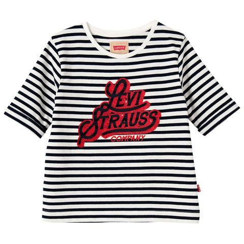 Levi's - Girls Navy Blue and White Striped Logo T-Shirt