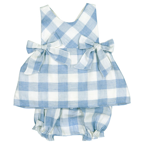 Mebi - Baby Girls Blue Check Dress