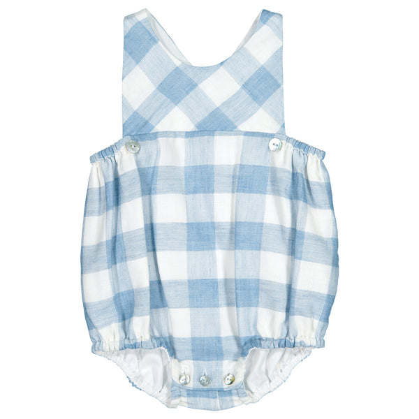 Mebi - Blue Check Cotton Romper-Shortie-Sweet Peas Kidswear