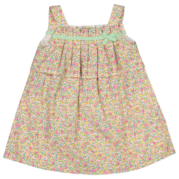 Mebi - Baby Girls Floral Cotton Dress-Dress-Sweet Peas Kidswear
