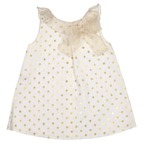 Mebi - Baby Girls Ivory & Gold Dress