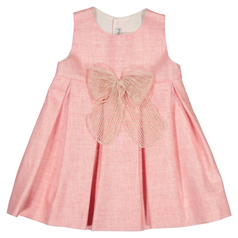 Mebi - Baby Girls Pink Linen Dress