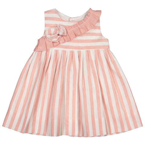 Mebi - Baby Girls Pink and White Striped Cotton Dress