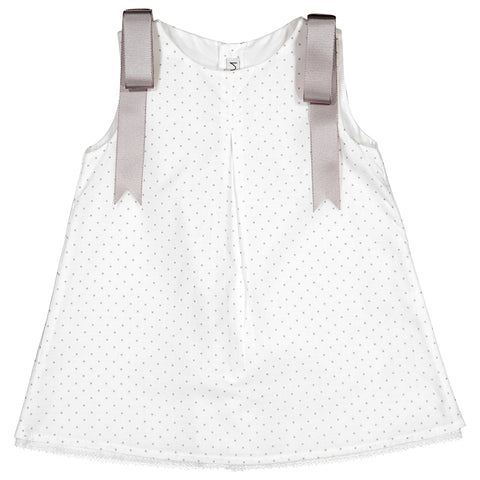 Mebi - Baby Girls White Polka Dot Cotton Dress