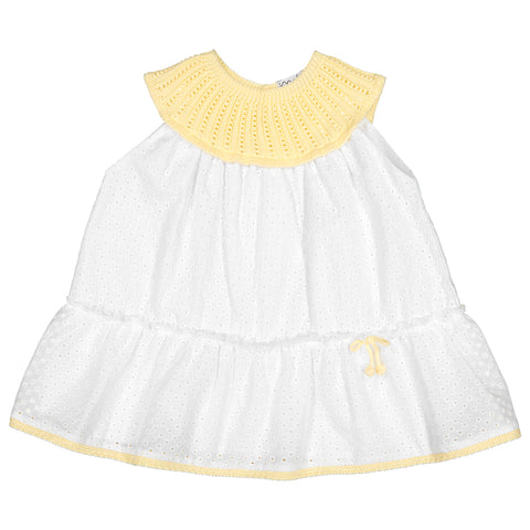 Mebi - Baby Girls Cotton Dress with Knitted Detail