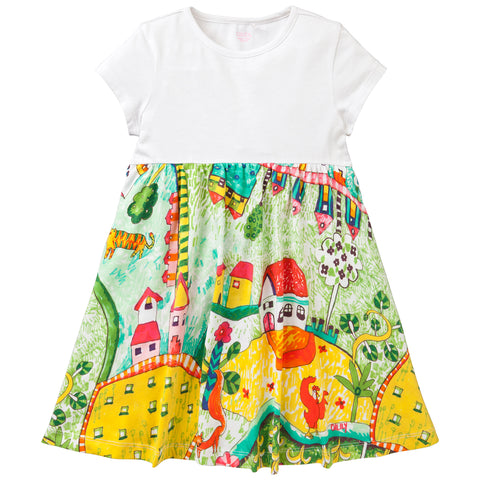 Oilily - Girls 'The Village' Short Sleeved Jersey Dress