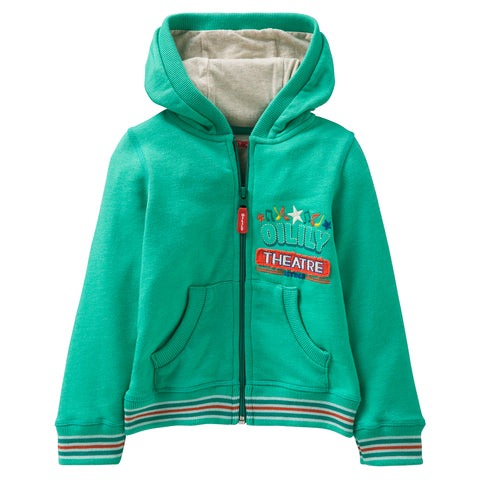 Oilily - Boys Green Heroic Cotton Hooded Zip-Up