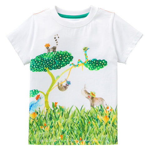 Oilily - Boys Jungle Animal Print Cotton T-Shirt-T-Shirt-Sweet Peas Kidswear