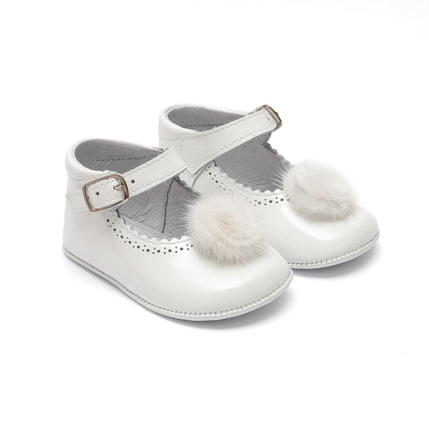TNY - Leather Patent Pre-Walker Baby Shoes with Pompom Detail - White
