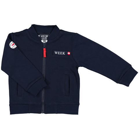 Week-End á La Mer - Boys Navy Zip-Up Jumper-Jumper-Sweet Peas Kidswear