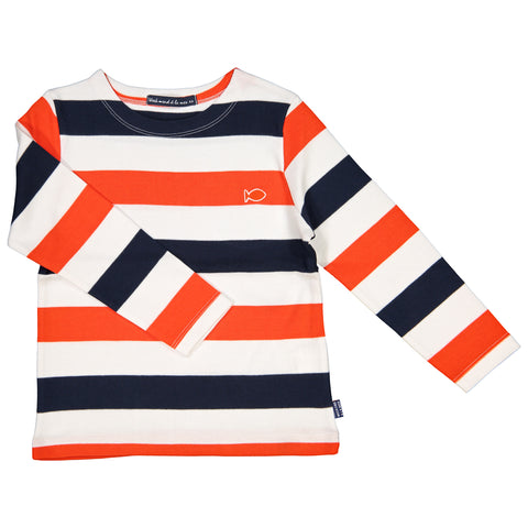 Week-End á La Mer - Boys Orange, Navy, White Colour Striped Long Sleeved Top
