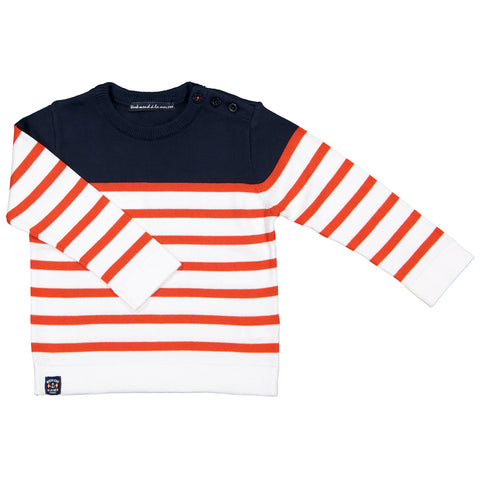 Week-End á La Mer - Boys SS18 Navy, White & Orange Striped Jumper-Jumper-Sweet Peas Kidswear