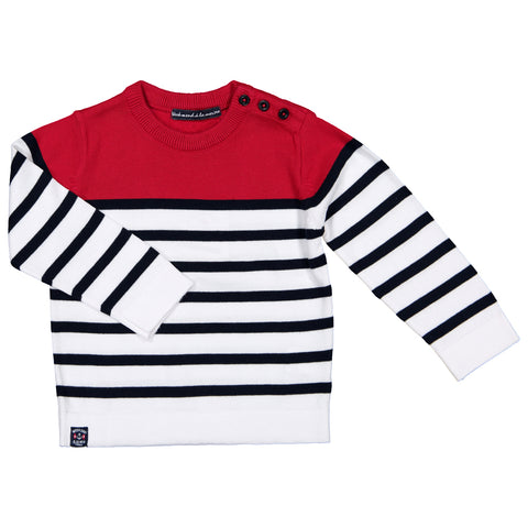 Week-End á La Mer - Boys SS18 Red, White & Navy Striped Jumper-Jumper-Sweet Peas Kidswear