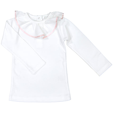 DOT - Long Sleeved 'Julie' T-Shirt with Pink Trim-T-Shirt-Sweet Peas Kidswear