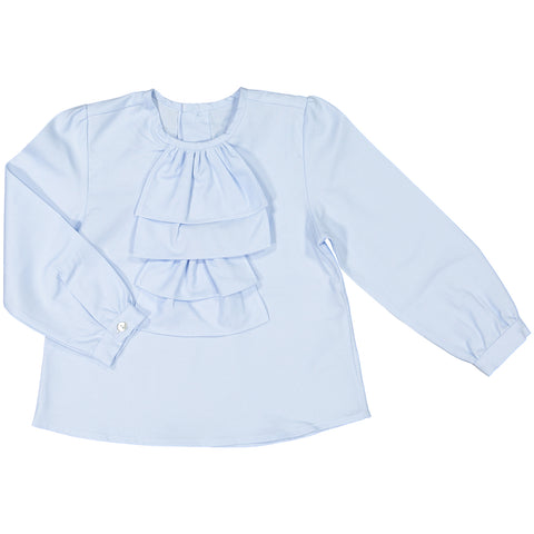 DOT - 'Winter Amalia' Baby Blue Shirt Dress-Dress-Sweet Peas Kidswear