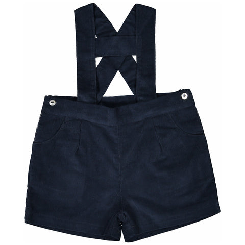 DOT - Boys Navy Cord 'Liam' H-Bar Shorts-Shorts-Sweet Peas Kidswear