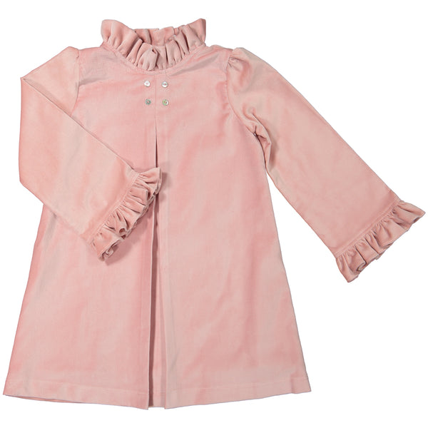 DOT - 'Manuela' Salmon Velour Dress-Dress-Sweet Peas Kidswear