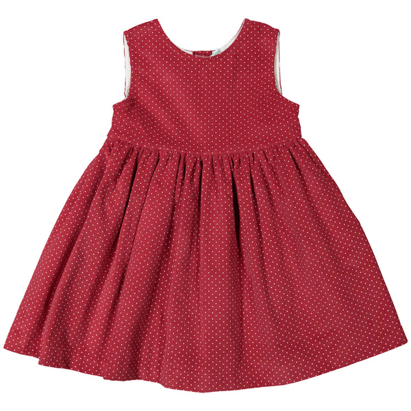 DOT - 'Winter Renata' Red Cord with White Polka Dot Dress-Dress-Sweet Peas Kidswear