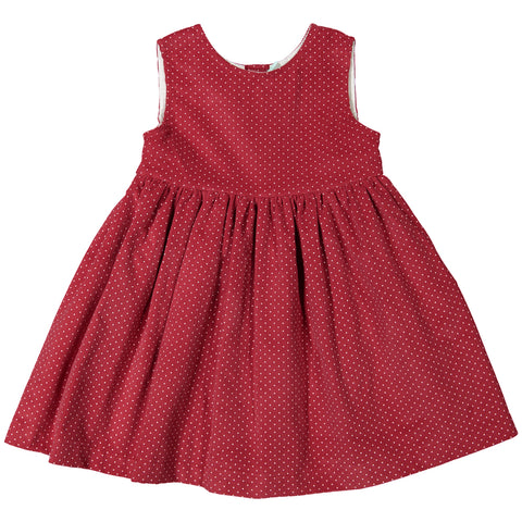 DOT - 'Winter Renata' Red Cord with White Polka Dot Dress