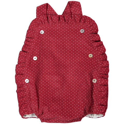 DOT - 'Winter Angel' Red Cord with White Polka Dot Romper-Romper-Sweet Peas Kidswear