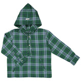 DOT - 'Timothy' Green Plaid Hooded Shirt-Shirt-Sweet Peas Kidswear