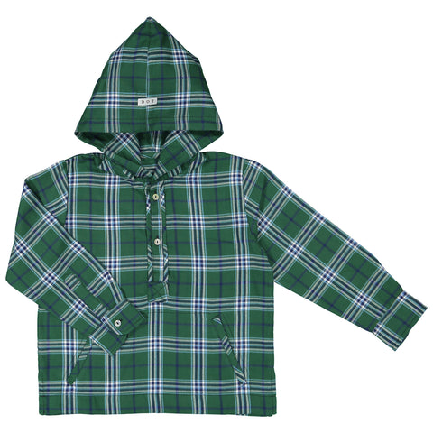 DOT - 'Timothy' Green Plaid Hooded Shirt