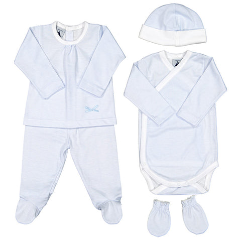 Babidu - Baby Boys Blue Striped 5 Piece Babygrow Gift Set-Outfit Set-Sweet Peas Kidswear