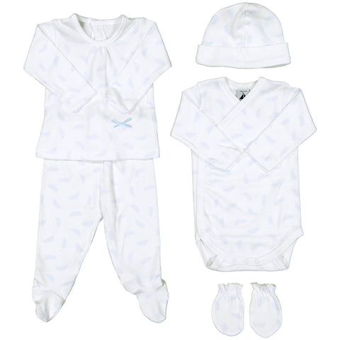 Babidu - Baby Boys Blue Feather 5 Piece Babygrow Gift Set-Outfit Set-Sweet Peas Kidswear