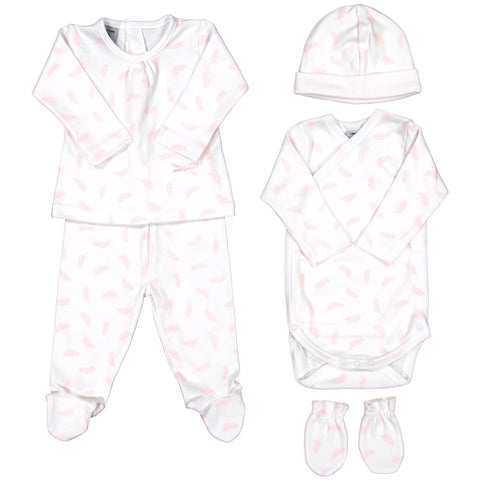 Babidu - Baby Girls Pink Feather 5 Piece Babygrow Gift Set-Outfit Set-Sweet Peas Kidswear
