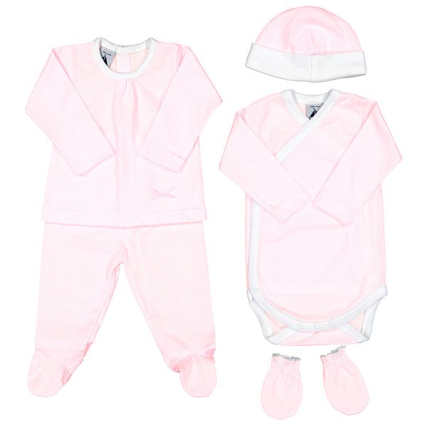Babidu - Baby Girls Pink Striped 5 Piece Babygrow Gift Set-Outfit Set-Sweet Peas Kidswear