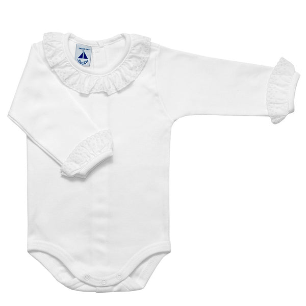 Babidu - Baby Girls Long Sleeved Bodyvest With White Trim-Bodyvest-Sweet Peas Kidswear