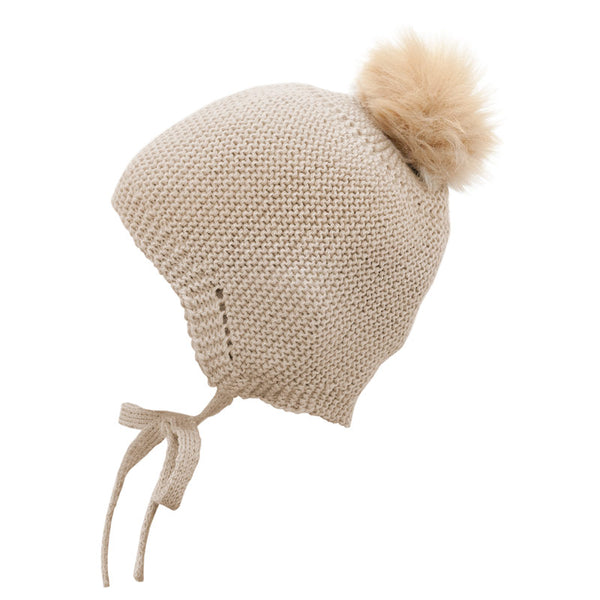 Mebi - Knitted Baby Hat with Fur Pom Pom in Beige 1