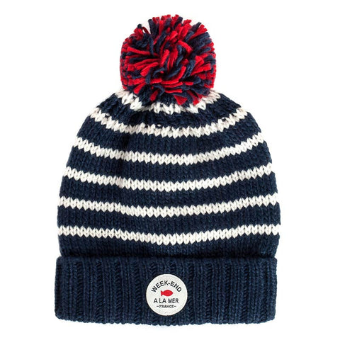 Week-End á La Mer - White & Navy Striped Bobble Hat-Hat-Sweet Peas Kidswear