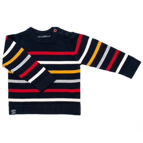 Week-End á La Mer - Boys Navy Multi Colour Striped Jumper-Jumper-Sweet Peas Kidswear