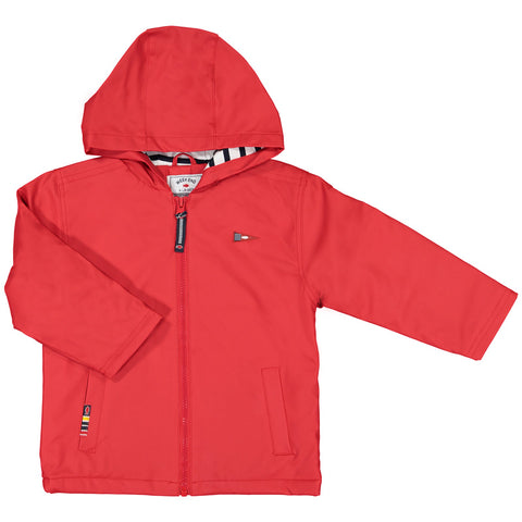 Week-End á La Mer - Red Flannel Lined Hooded Raincoat-Coat-Sweet Peas Kidswear